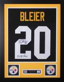 Rocky Bleier Framed and Autographed Black Steelers Jersey JSA Certified