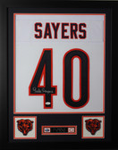 Gale Sayers Framed and Autographed White Chicago Bears Jersey Auto JSA Certified