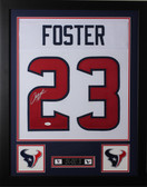 Arian Foster Framed and Autographed White Houston Texans Jersey Auto JSA Certified
