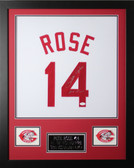 Pete Rose Autographed and Framed White Cincinnati Reds Jersey Auto JSA Certified
