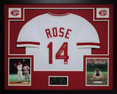 Pete Rose Autographed Hit King and Framed White Cincinnati Reds Jersey JSA Certified