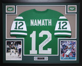 Joe Namath Autographed #12 and Framed Green New York Jets Jersey Auto JSA Certified