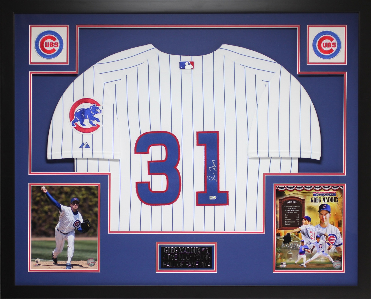 outlet store a4d86 62c34 Greg Maddux Autographed and Framed White Cubs Jersey