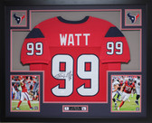 JJ Watt Framed and Autographed Red Houston Texans Jersey Auto JSA Certified