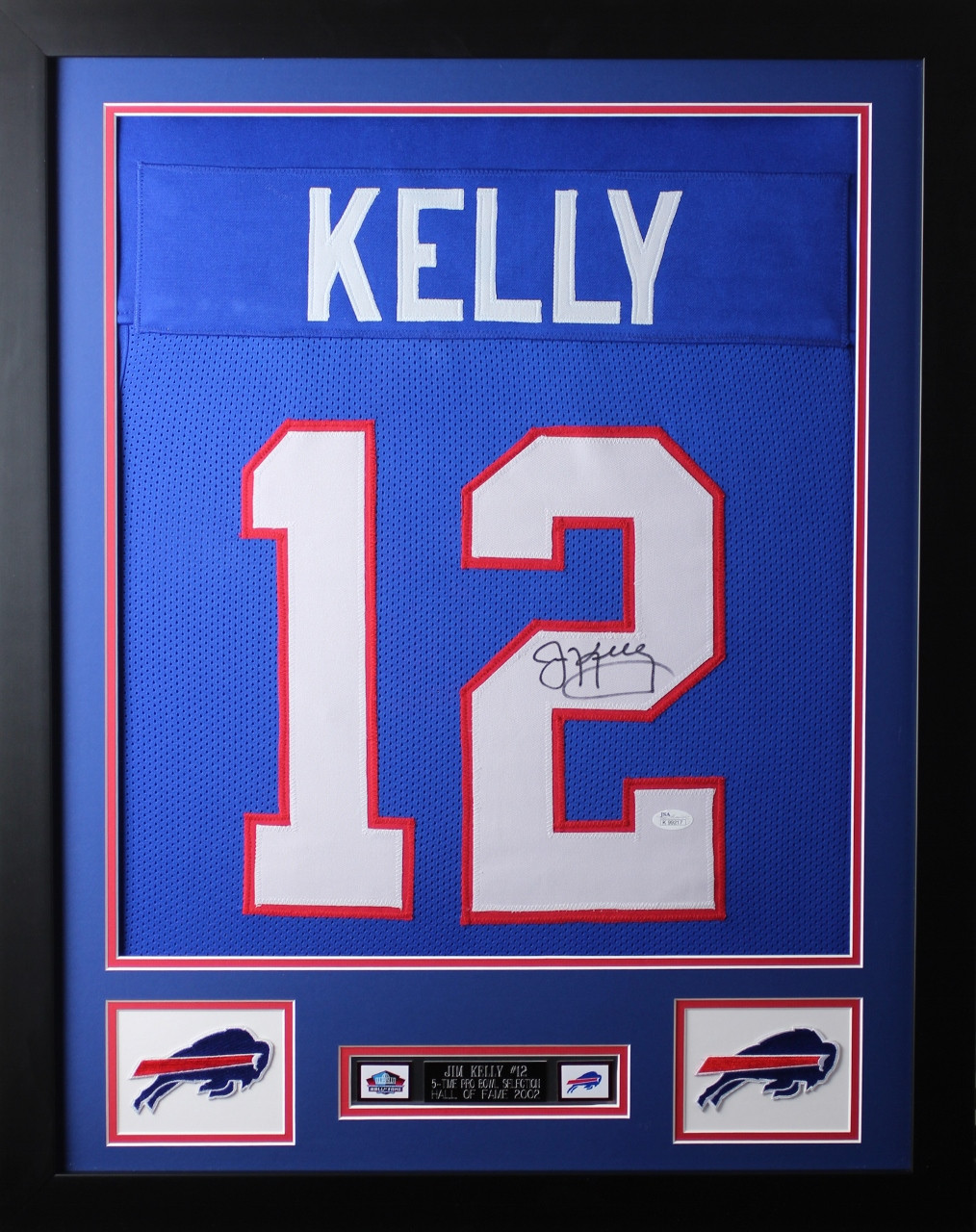 cf89235b3b6 Jim Kelly Framed and Autographed Blue Buffalo Bills Jersey Auto JSA COA