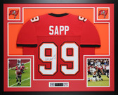 Warren Sapp Autographed HOF 13 and Framed Red Tampa Bay Buccaneers Jersey Auto JSA Certified