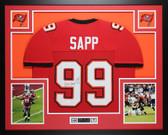 Warren Sapp Autographed HOF 13 and Framed Red Tampa Bay Buccaneers Jersey Auto JSA Certified