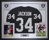 Bo Jackson Autographed and Framed Black Raiders Jersey Auto JSA Certified