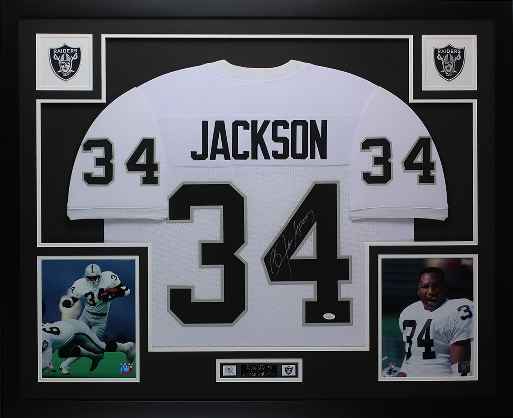 best authentic 2a211 44dca Bo Jackson Autographed and Framed White Raiders Pro Style Jersey