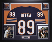 Mike Ditka Autographed and Framed Blue Chicago Bears Jersey Auto JSA Certified