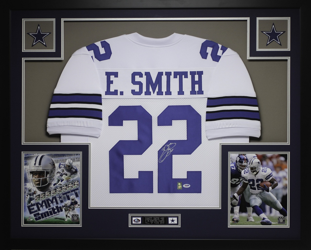 super popular ba64b cb3a2 Emmitt Smith Autographed and Framed White Cowboys Pro Stlye ...