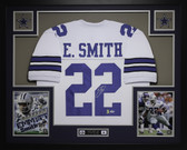 Emmitt Smith Autographed and Framed White Cowboys Jersey PSA Certified