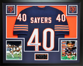 Gale Sayers Autographed HOF 77 and Framed Navy Chicago Bears Jersey JSA COA
