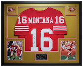 Joe Montana Autographed and Framed Red San Francisco 49ers Jersey JSA COA