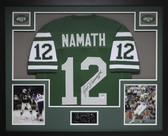 Joe Namath Autographed #12 and Framed Green New York Jets Jersey Auto JSA COA