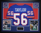 Lawrence Taylor Autographed and Framed Blue New York Giants Jersey Auto JSA COA