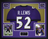 Ray Lewis Autographed and Framed Purple Baltimore Ravens Jersey JSA COA
