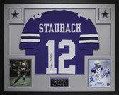 Roger Staubach Autographed and Framed Blue Dallas Cowboys Jersey JSA COA