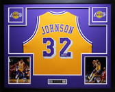 Magic Johnson Autographed and Framed Gold Lakers Jersey PSA certified