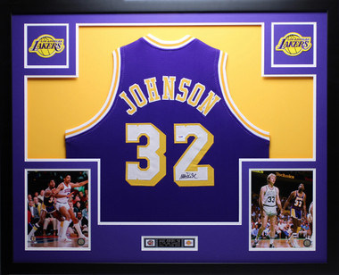 Magic Johnson Autographed And Framed Purple Lakers Jersey