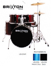 BRIXTON 5 Piece Drum Kit - Blue/Wind Red/Black