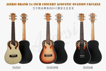 "Aiersi ""Ovation"" style Concert Ukulele in gig bag - natural/black/sunburst"