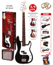 SX Electric Bass Guitar Kit - SB1SKB - Black/Red/Sunburst