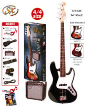 SX Electric Bass Guitar Kit - SB2SKB - Black/Red/Sunburst
