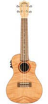 Lanikai Flamed Maple Series Concert AC/EL Ukulele in Natural Satin Finish with Lanikai Deluxe Gig Bag