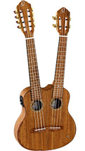 ORTEGA HYDRA Double Neck (4/8 String) Ukulele in Gig bag