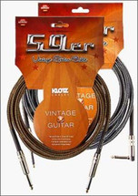 Klotz 59er Vintage Instrument Cable - 3m - Silver or Gold Braid - Straight or Right Angle