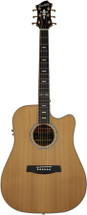 Hagstrom Elfdalia II Series Dreadnought AC/EL Guitar with Cutaway in Natural