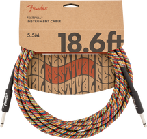 Fender Festival Series 18.6' Instrument Cable - RAINBOW BRAID