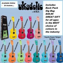 KALA Ukadelic Solid Colour Soprano Ukuleles in Gig Bag - FANTASTIC COLOUR RANGE