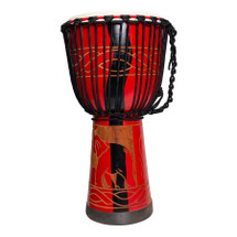 "Drumfire 8"" Traditional Rope Djembe - RED"