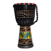 "Drumfire 10"" Traditional Rope Djembe - BLACK Multi"