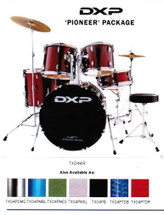 DXP PIONEER 5 PIECE Acoustic Drum Kit with Hardware, Cymbals and Throne - Assorted Colours