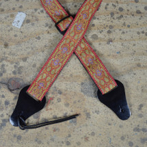 Jacquard Ukulele Strap with Leather Ends - Red/Blue or Green