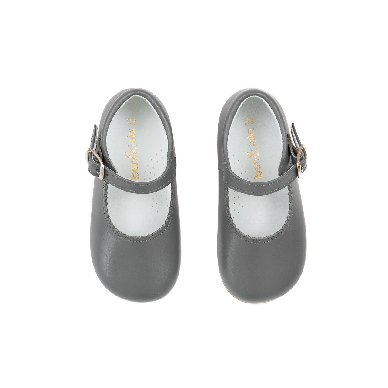 df64c6757f ... Little Girl Grey Leather Mary Jane Shoes From Ben & Lola. Loading zoom