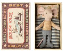 Little Brother Mouse In Box  W. Floral Pillow From Maileg