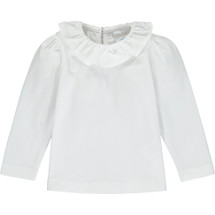 Cara White Collar  Long Sleeve Shirt From Little Dots