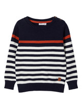Octo Navy Stripe Knitted Jumper