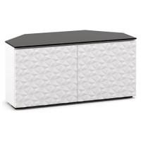 "Salamander Milan 221 44"" Corner TV Stand AV Cabinet in White w/ 3D Geometric Pattern Doors"