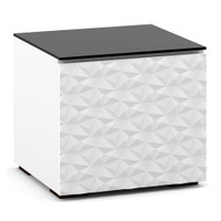 Salamander Milan 217 Subwoofer Enclosure in White w/ 3D Geometric Pattern Doors