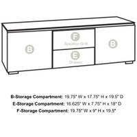 "Salamander Milan 236 64"" TV Stand AV Cabinet in White w/ 3D Geometric Pattern Doors"