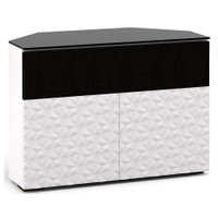 Salamander Milan 329 Corner Double-Width AV Cabinet in White / Black Glass