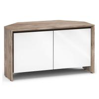 Salamander Barcelona 221 Corner Double-Width AV Cabinet in Natural Walnut / Gloss White