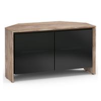 Salamander Barcelona 221 Corner Double-Width AV Cabinet in Natural Walnut / Black Glass