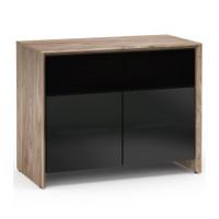 Salamander Barcelona 329 Double-Width AV Cabinet in Natural Walnut / Black Glass