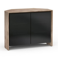 Salamander Barcelona 323 Corner Double-Width AV Cabinet in Natural Walnut / Black Glass